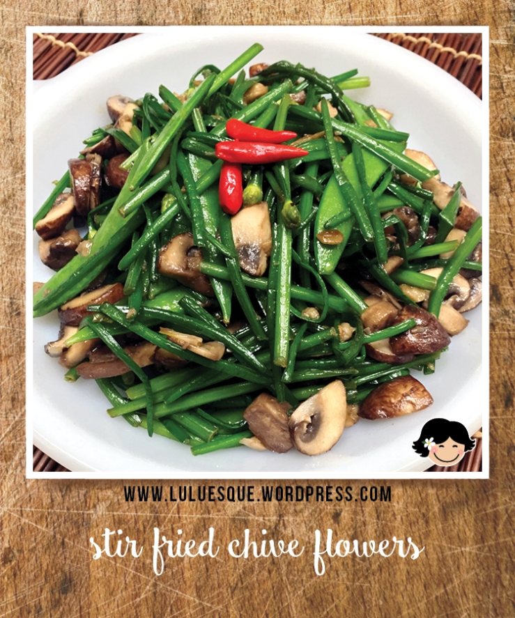 luluesque_stir-fried chive flowers-cremini mushrooms