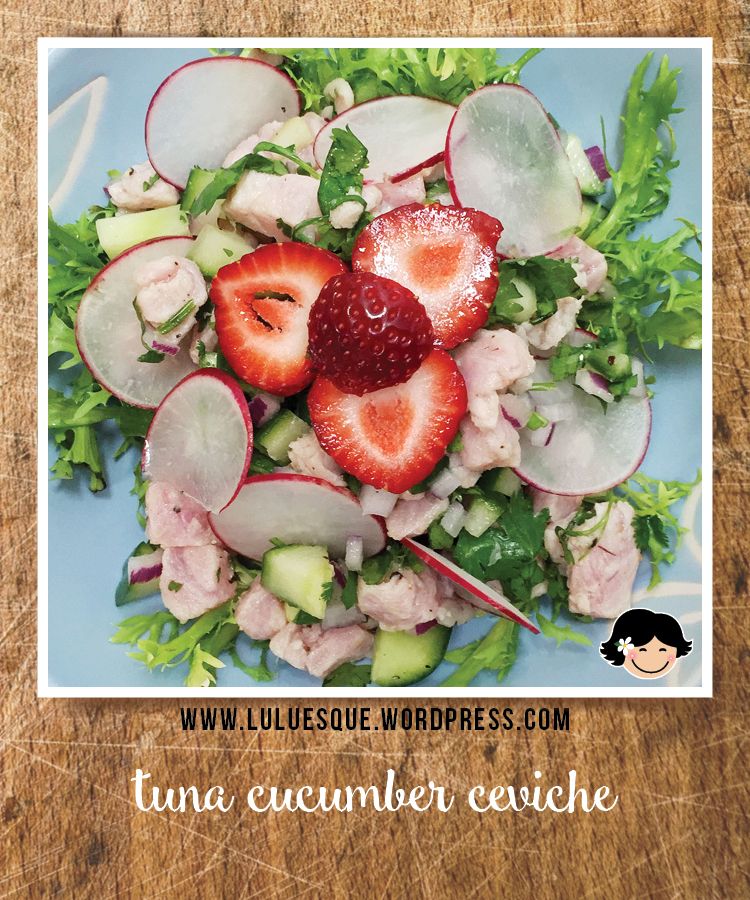 luluesque_tuna cucumber ceviche frisee salad