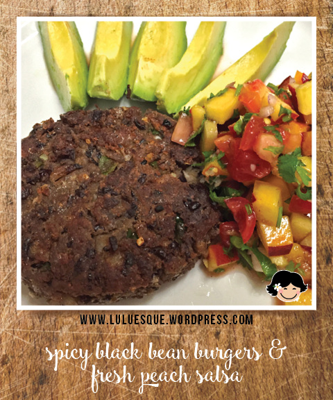luluesque_spicy black bean burgers-fresh peach salsa