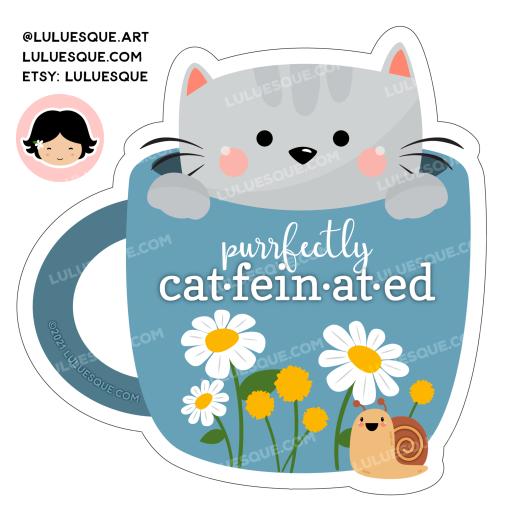 Luluesque_Etsy_Cute Cat in Coffee Cup Mug Vinyl Sticker