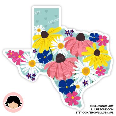 Luluesque_Etsy_Texas Wildflowers Vinyl Sticker