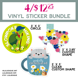 Luluesque_Etsy_Vinyl Sticker Bundle_Hiking Turtle_Texas Wildflowers_Cute Cat in Coffee Cup-03